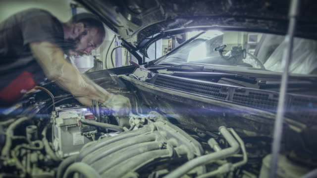 Automobile repair shop. 4K time lapse video video