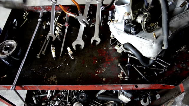 automobile repair shop automobile repair shop, garage tools workbench stock videos & royalty-free footage