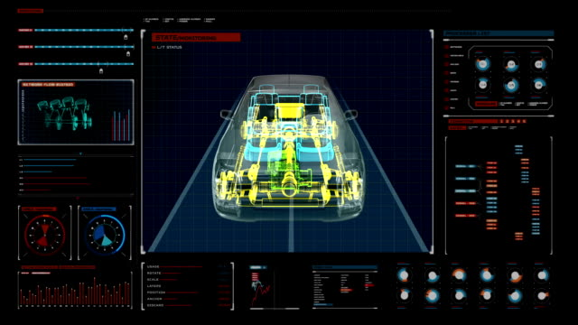 Automobile shaft system, Engine, interior. Front view. digital display panel. video