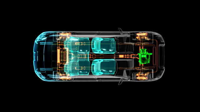 Automobile Technology. Drive shaft system, Engine, interior. X-ray Top view. video