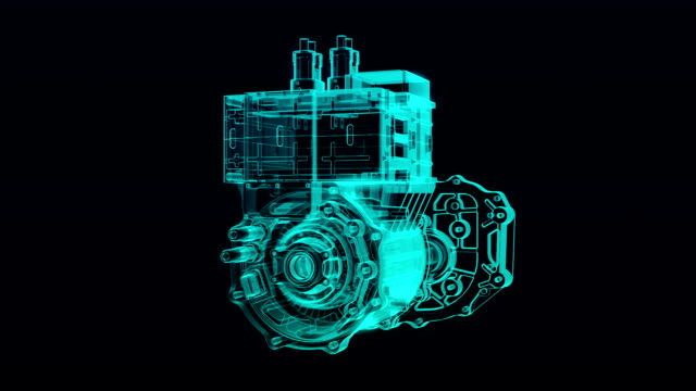 Automobile Technology. Making Engine, parts gathered, X-ray Top view. video