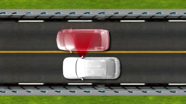 Automobile Technology. Road Lane alert .automotive. Top view. video