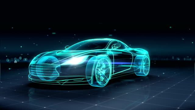Automobile Technology. running car. 360 X-ray view. 4k size movie. video