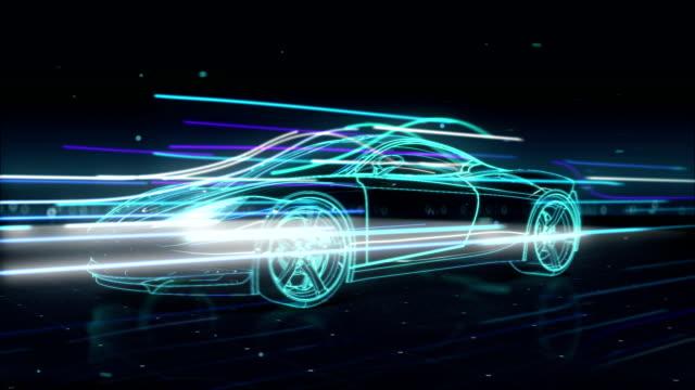 Automobiltechnik. laufen Auto mit Linie. 360 Röntgenblick. – Video
