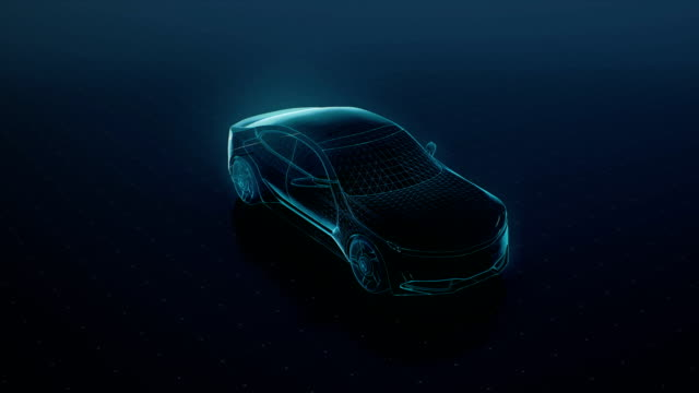 Automobile Technology. Running Future car, digital line. 360 X-ray view. 4k movie. video