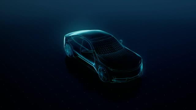 自動車技術。未来の車、デジタル ラインを実行します。360 x 線で見た。4 k 映画。 - 自動運転車点の映像素材/bロール