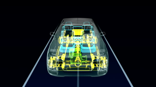 Automobile Technology. shaft system, Engine, interior. X-ray Front view. video