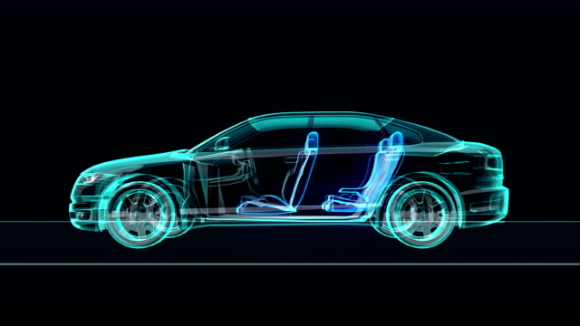 Automobile Technology. shaft system, Engine, interior. X-ray side view. video
