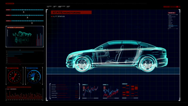 Automobile Technology. X-ray side view. digital display panel. video