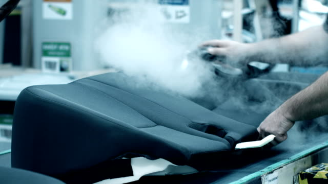 Automotive Industry Conveyor Belt of Car Seat Ironing Slow Motion
