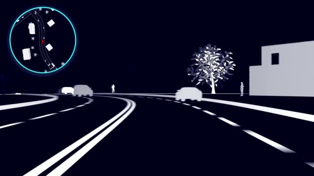 自律車。コンピュータ ビジョン。ライダー スキャン信号と自律無人車は交差点で停止します。3 d スキャン ビデオ