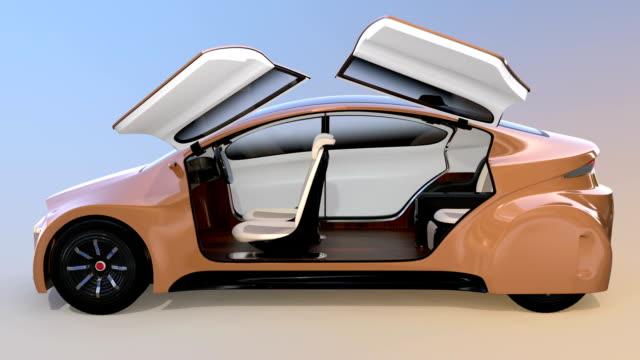 新しいビジネスのための自律車インテリアの概念旅行スタイル ビデオ