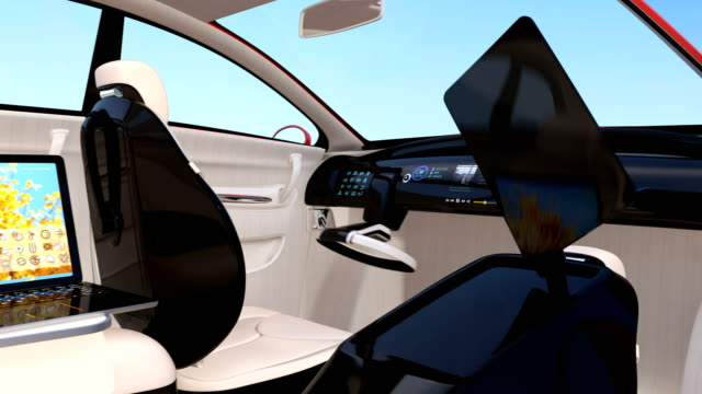 Autonomous car interior Autonomous car interior. Foldable monitor on the front seat provide new method for communication. Concept for business meeting in the car. independence stock videos & royalty-free footage