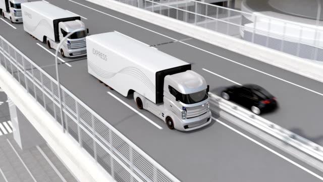 Autonomous Electric Trucks And Vtol Drones Platooning On
