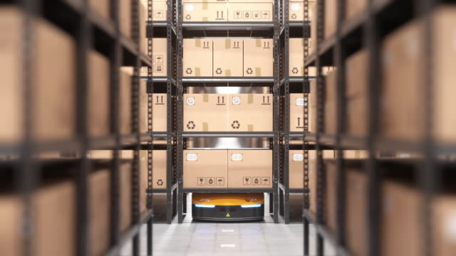 Autonomous robot or AGV moves rack in automated warehouse. Seamless looping