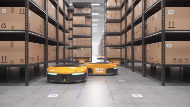 Autonomous robots moving shelves in automated warehouse. Seamless looping POV shot