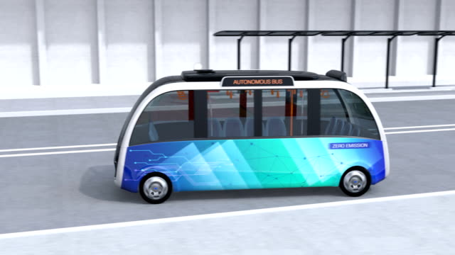 autonomous shuttle bus driving in bus station - bus stock videos and b-roll footage