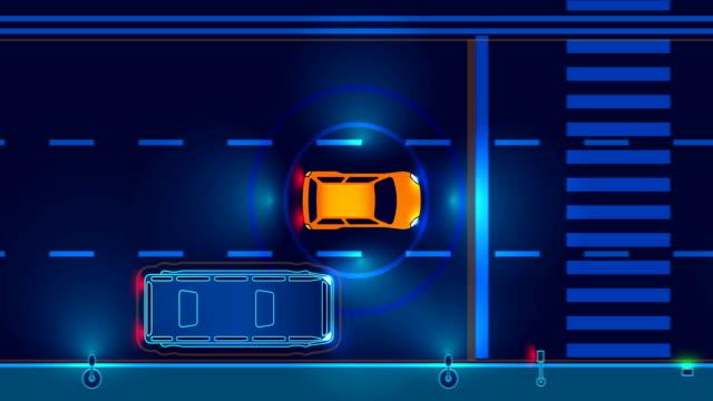 自律スマート車の夜の街の道路で運転。 ビデオ