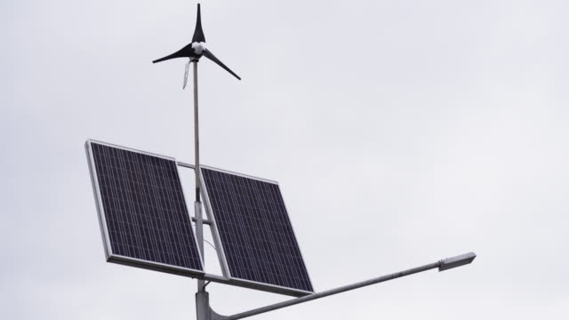 Autonomous source of energy. Solar panels and a small wind turbine for the production of environmentally friendly energy