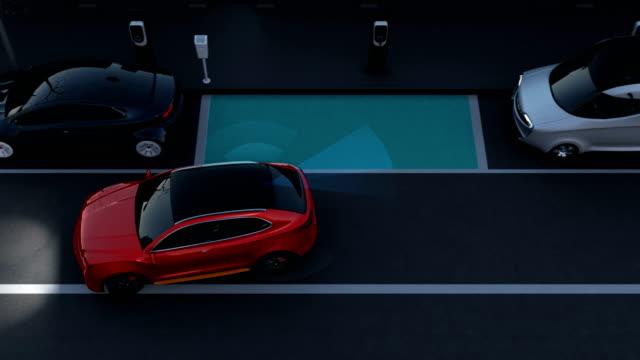 stockvideo's en b-roll-footage met autonome suv is parallelle parkeren in parkeerplaats langs weg - parkeren