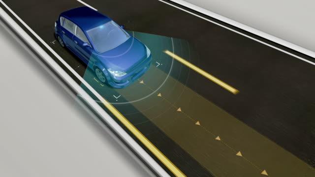 自動運転車、自動運転技術。無人車、iotコネクティングカー。 - 自動運転車点の映像素材/bロール