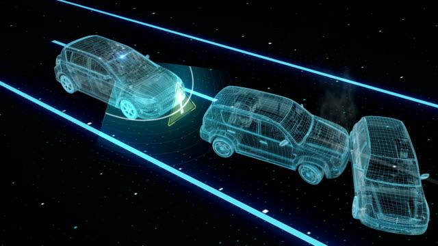 自律走行車、衝突を避けるため車は、車の距離、自動運転技術を保ちます。IOT では、車を接続します。X 線イメージ。4 k 映画 ビデオ