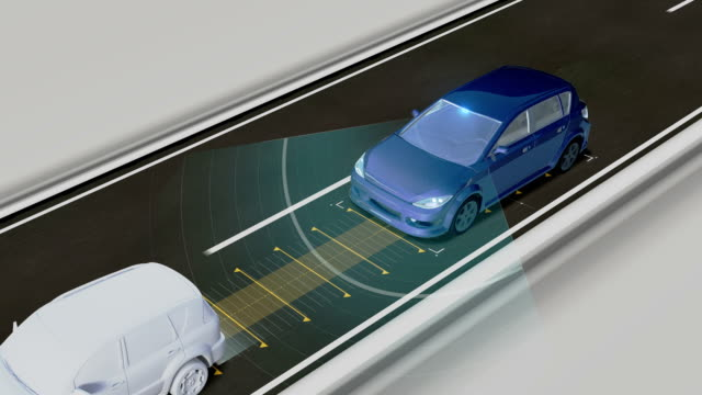 Autonomous vehicle, Keep the car distance, Automatic driving technology. Unmanned car, IOT connect car. – Video