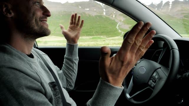 Autonomus car. Driver relaxing during trip