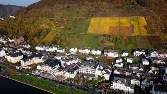 Autumn aerial over Cochem and Mosel valley, Germany