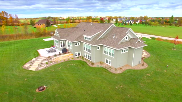 Autumn Aerial Rotation Around Beautiful New Ranch Home video