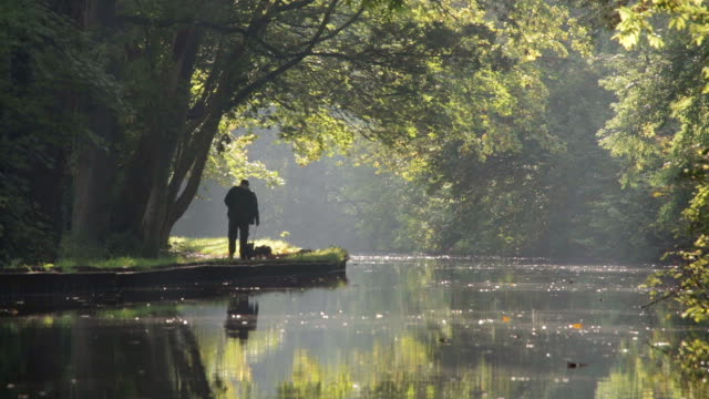 Autumn Along The Llangollen Canal With People Walking video