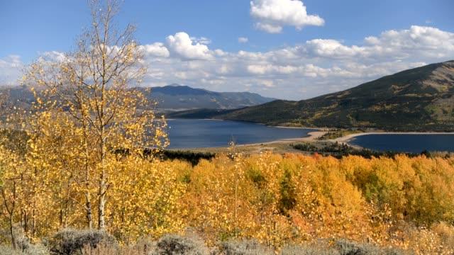 vídeos de stock, filmes e b-roll de outono nos lagos gêmeos-um vídeo de 4k dos ventos que fundem sobre um bosque colorido do aspen em lagos gêmeos em uma tarde ensolarada do outono. colorado, eua. - independence pass
