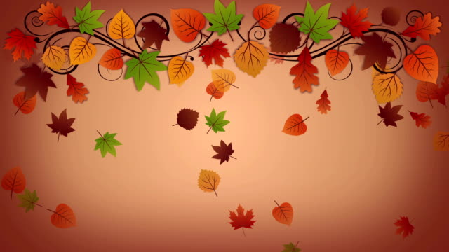 Autumn background with falling leaves video