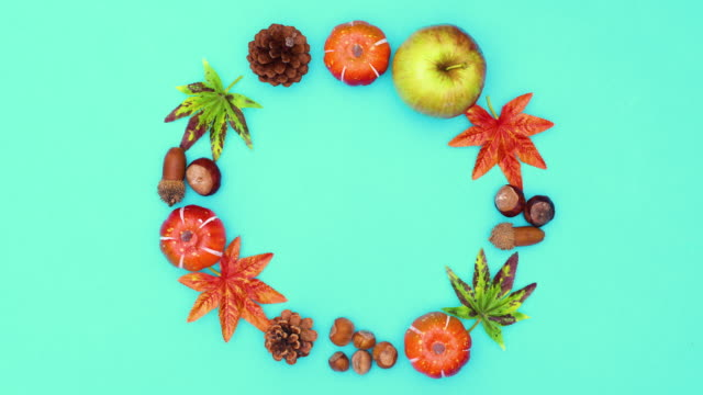 Autumn circle frame and autumn yields move in circle. Stop motion