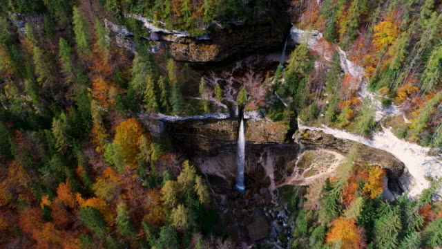 Autumn forest, waterfall, lakes in Plitvice National Park, Croatia, aerial drone view