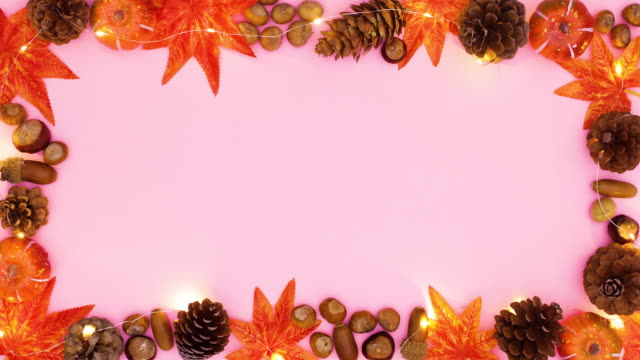 Autumn frame for text appear with lights. Stop motion