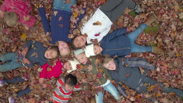 vídeos y material grabado en eventos de stock de diversión de otoño con amigos - abrigo