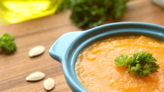 autumn hot soup with pumpkin - pumpkin stock videos & royalty-free footage