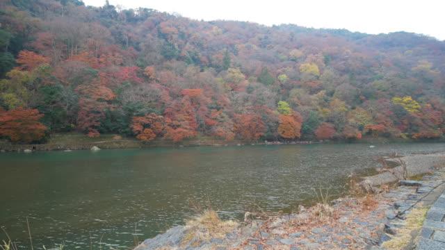 Autumn in Katsura-gawa River in Arashiyama, Kyoto, Japan