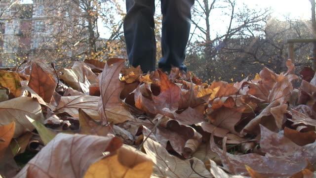 (HD1080i) Autumn: Kicking Leaves Towards Camera video