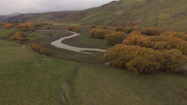 Autumn landscape, aerial footage New Zealand – film