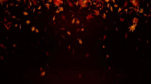 Autumn Leaves Falling on Red Background, Maple Leaf, Loop Glitter Animation, Maple Leaves Spin Loop CG Animation hovering stock videos & royalty-free footage