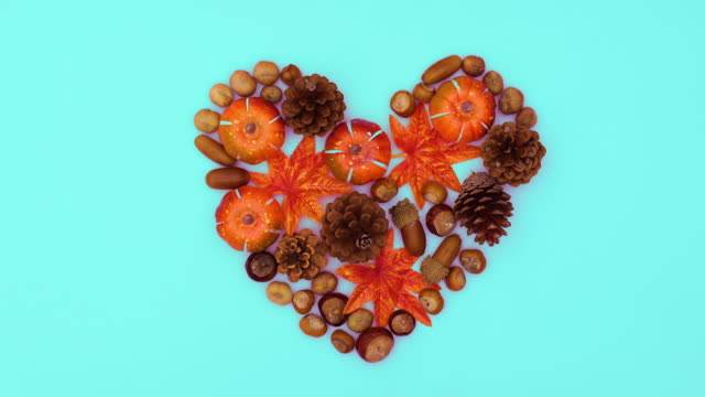 Autumn leaves, nuts and pine cones make heart. Stop motion