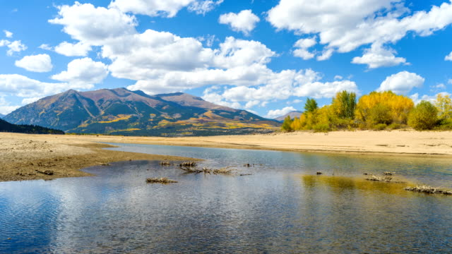 Autumn Mountain Lake - A panoramic time-lapse video of white clouds passing over Twin Lakes at base of two highest peaks, Mount Elbert and Mount Massive, of Rocky Mountains of North America on a sunny Autumn day. Leadville, Colorado, USA.