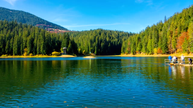 Autumn Mountain Lake with Colorful Trees in the Forest video