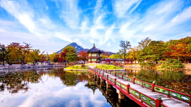 vídeos de stock e filmes b-roll de autumn of gyeongbokgung palace in seoul city,south korea.timelapse 4k - seul
