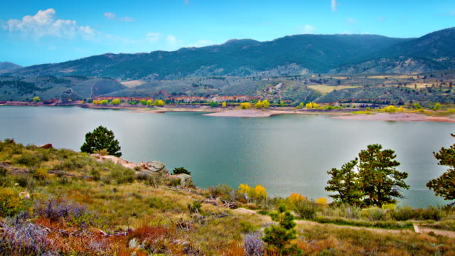Autumn river panorama video