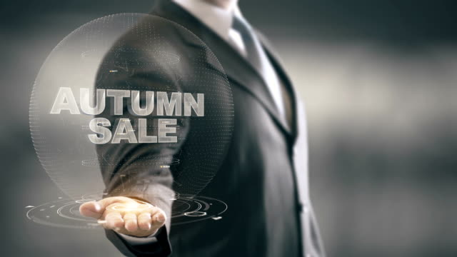Autumn Sale Businessman Holding in Hand New technologies