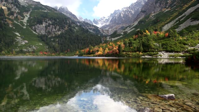 Autumn scenery on Popradske pleso. Slovakia video
