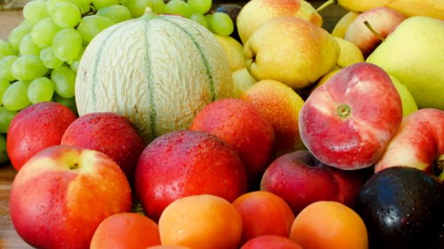 Autumn still-life of fresh fruit closeup video